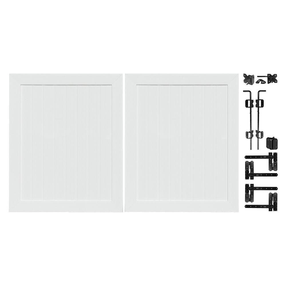 H White Vinyl Patio Anaheim Privacy Double Drive Through Fence Gate 153678    The Home Depot
