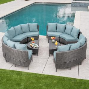 10-Piece Wicker Patio Sectional Seating Set with Teal Cushions