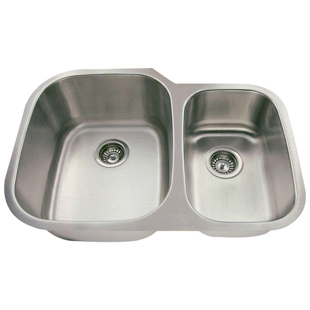 Polaris Sinks Undermount Stainless Steel 29 In Double Bowl Kitchen Sink