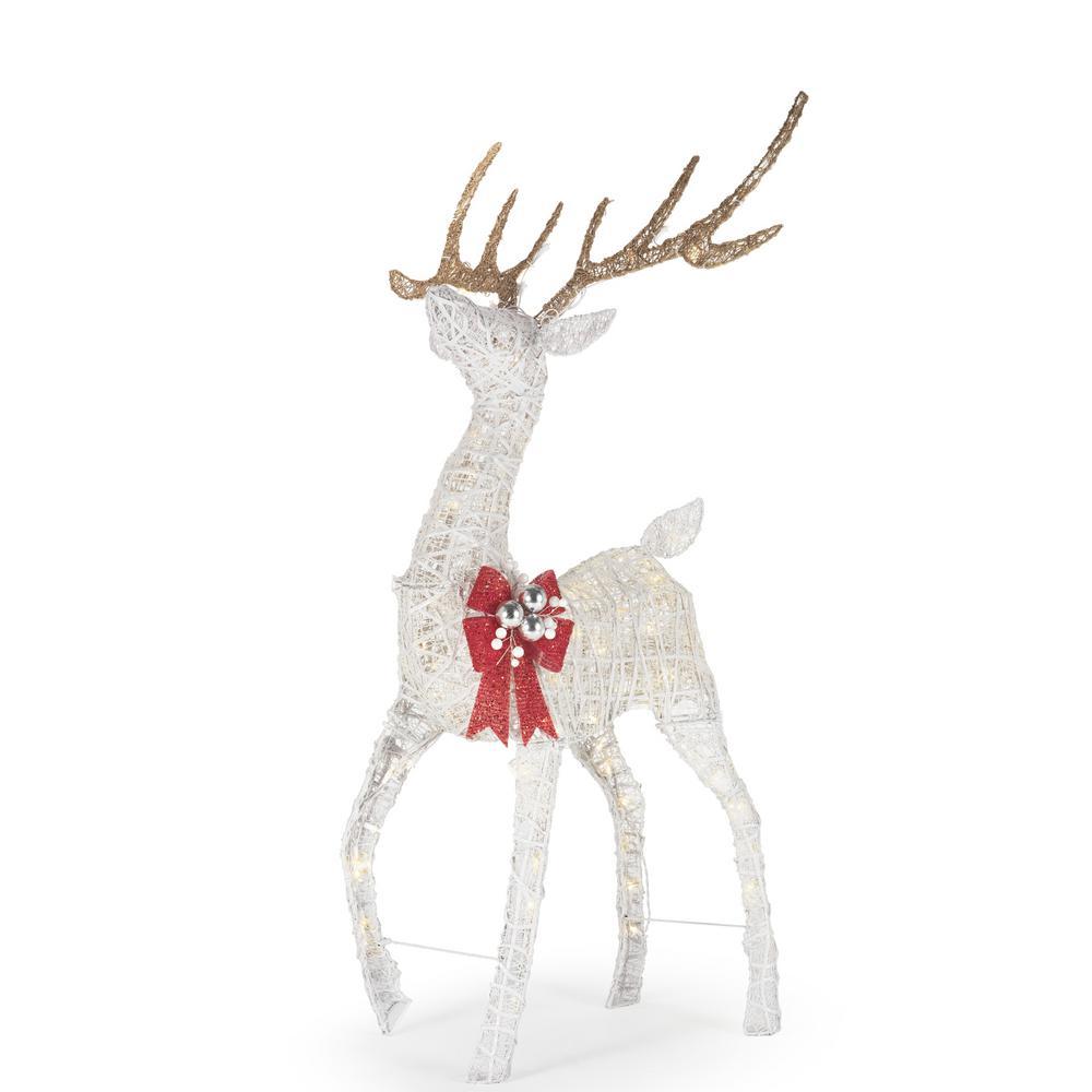 Polar Wishes 55 in. Christmas Warm White LED White PVC Deer