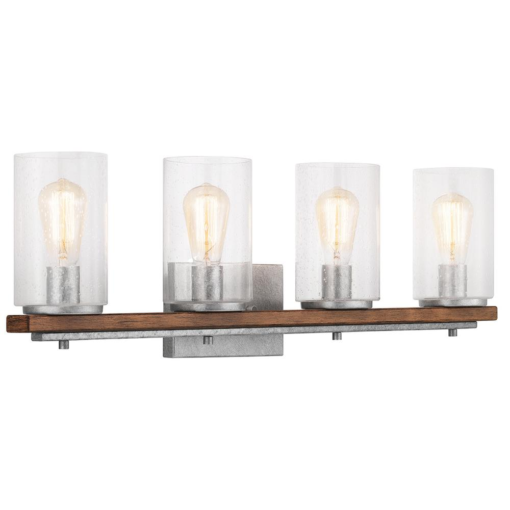 Home Decorators Collection Boswell Quarter 4-Light Galvanized Vanity Light with Painted Chestnut Wood Accents