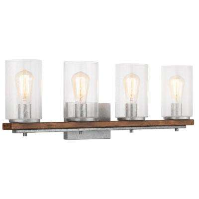 Boswell Quarter 4-Light Galvanized Vanity Light with Painted Chestnut Wood Accents
