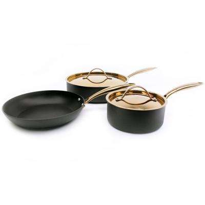 Ouro 5-Piece Black and Rose Gold Cookware Set with Lids