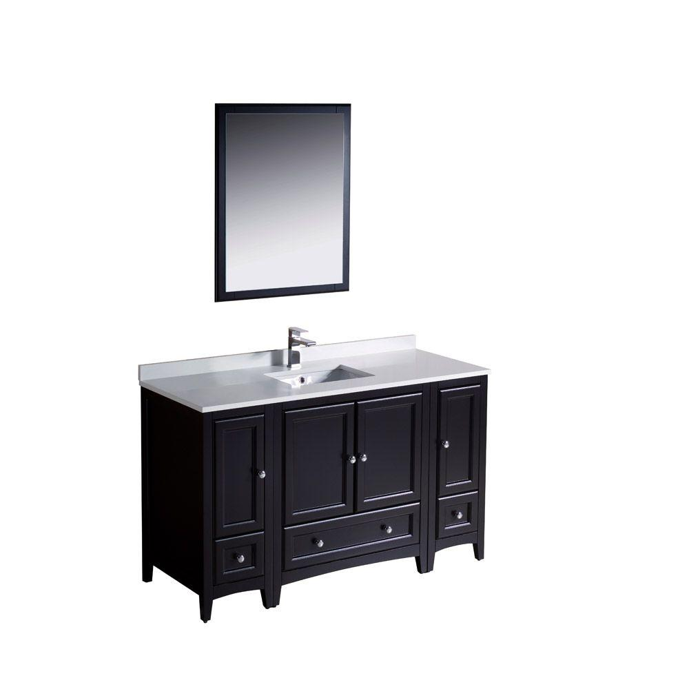 Fresca Oxford 54 in. Vanity in Espresso with Ceramic Vanity Top in White with White Basin and Mirror