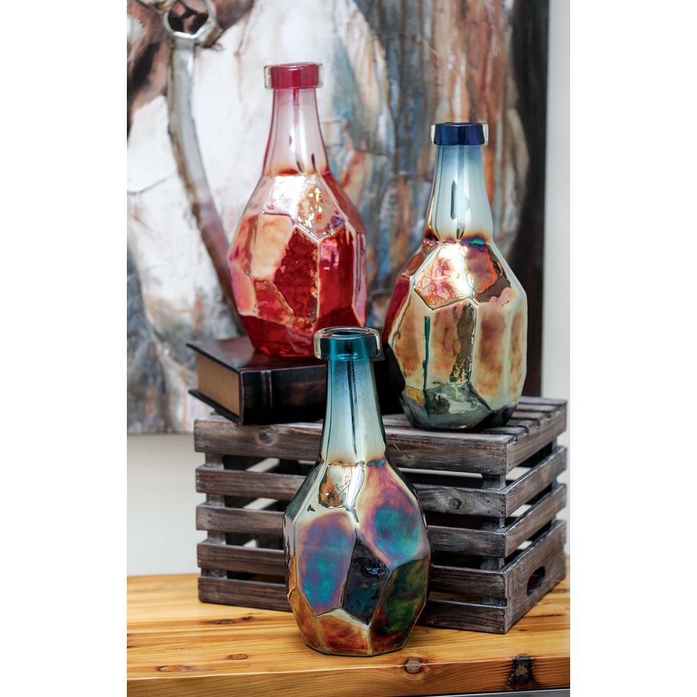 Iridescent Glass Decorative Bottles (Set of 3)