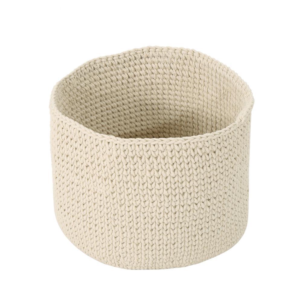 Derry Round Knitted Cotton Thread Sundries Basket, Beige