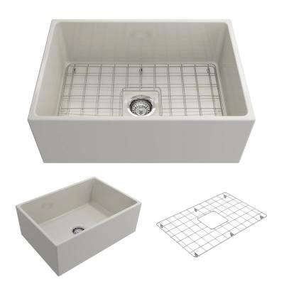 Contempo Farmhouse Apron Front Fireclay 27 in. Single Bowl Kitchen Sink with Bottom Grid and Strainer in Biscuit