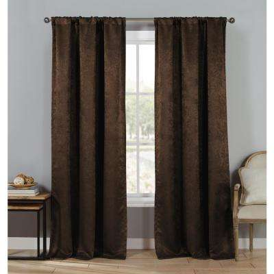 Solid Chocolate Polyester Blackout Grommet Window Curtain 60 in. W x 84 in. L (2-Pack)