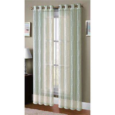 Sheer Boho Embroidered Faux Linen Sheer Grommet Extra Wide Curtain Panel