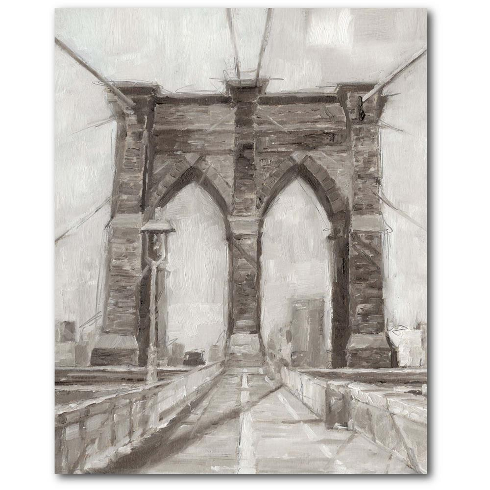 Courtside Market Charcoal Brooklyn Bridge II 16 in. x 20 in. Gallery-Wrapped Canvas Wall Art, Multi Color was $70.0 now $38.93 (44.0% off)