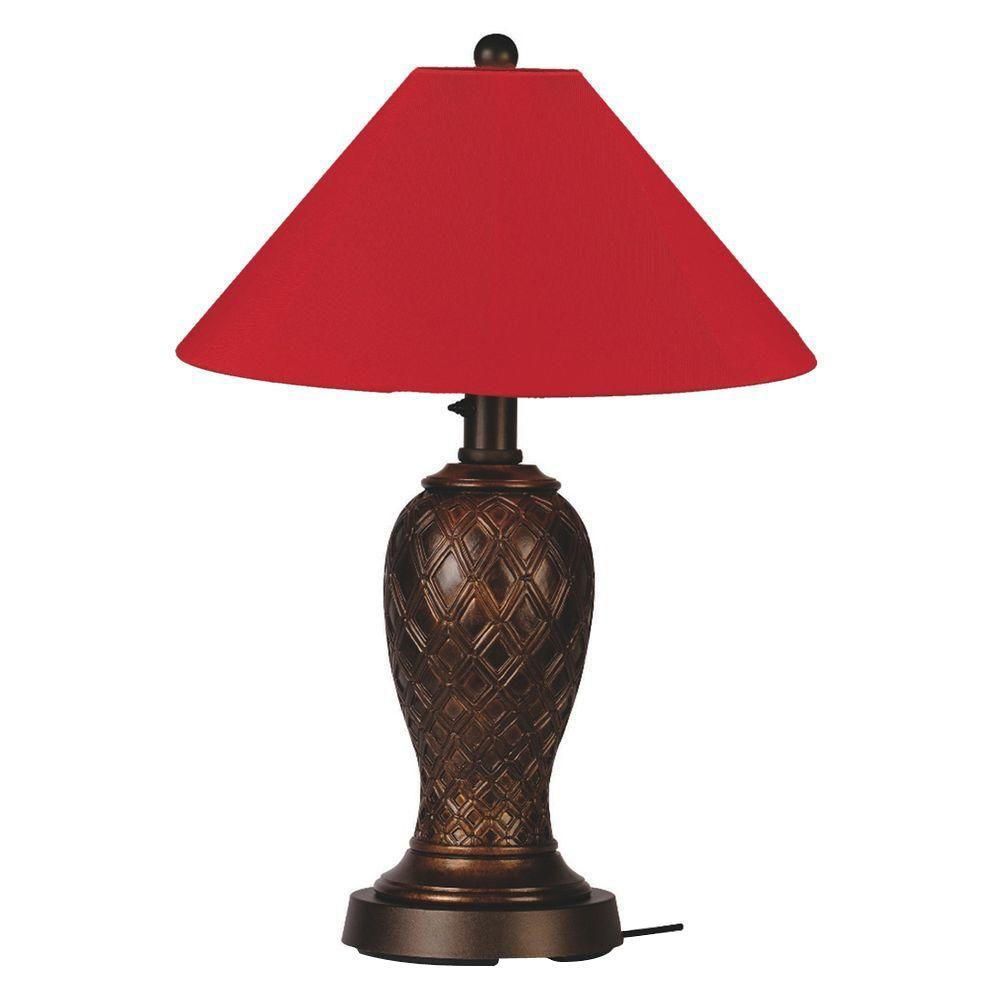 Monterey 34 in. Bronze Outdoor Table Lamp with Jockey Red Shade