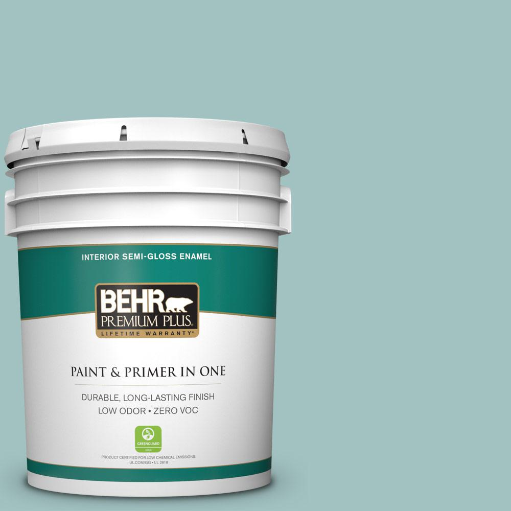BEHR Premium Plus 5-gal. #S440-3 Aspiring Blue Semi-Gloss Enamel Interior Paint