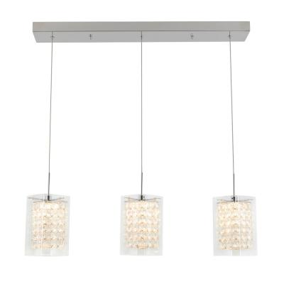 Crystal Cube 13-Watt Integrated LED Chrome Pendant with Glass Shade