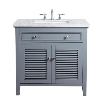 36 in. Genevieve Single Sink Vanity in Gray with Marble Vanity top in Carrara with White Basin