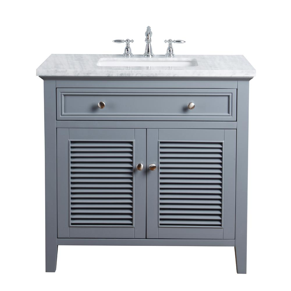 stufurhome 36 in. Genevieve Single Sink Vanity in Gray with Marble ...