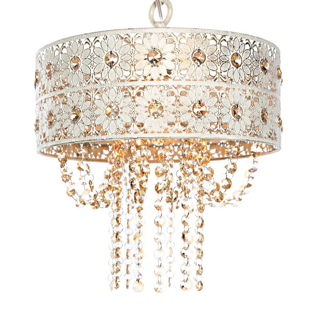 River Of Goods 1-Light Champagne Chandelier with Jeweled ...