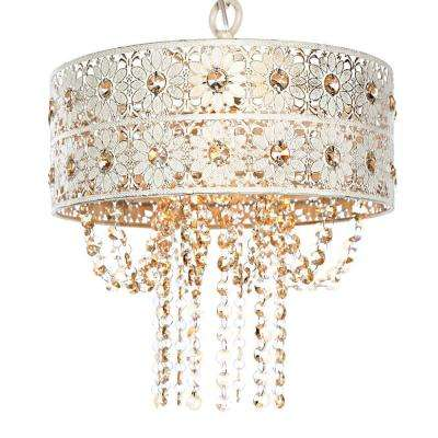1-Light Champagne Chandelier with Jeweled Blossoms Shade