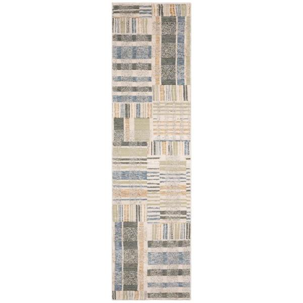 Audrey Blue Green 2 Ft X 12 Ft Geometric Runner Rug 000529 The Home Depot