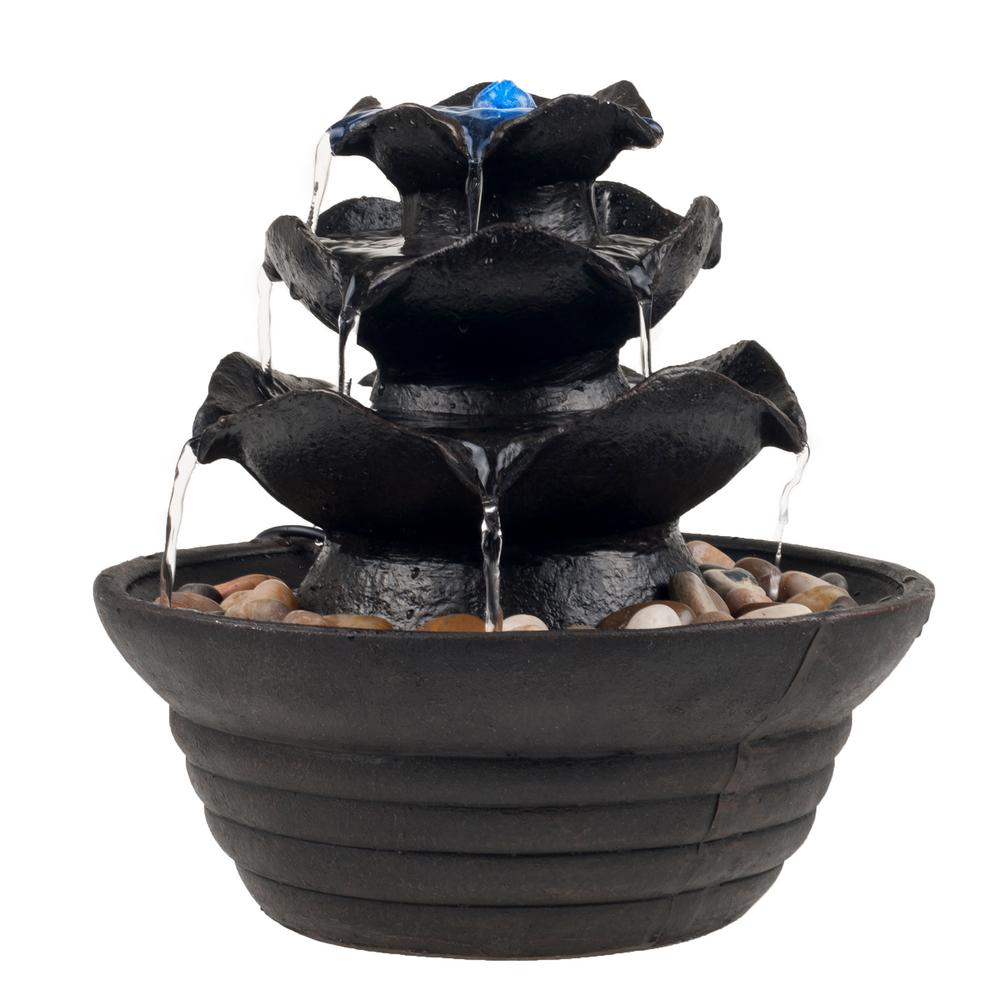 Pure Garden 10 in. 3 Tier Cascading Tabletop Fountain with LED ...