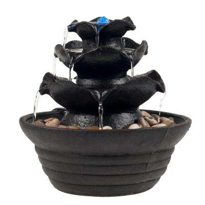10 in. 3 Tier Cascading Tabletop Fountain with LED Lights