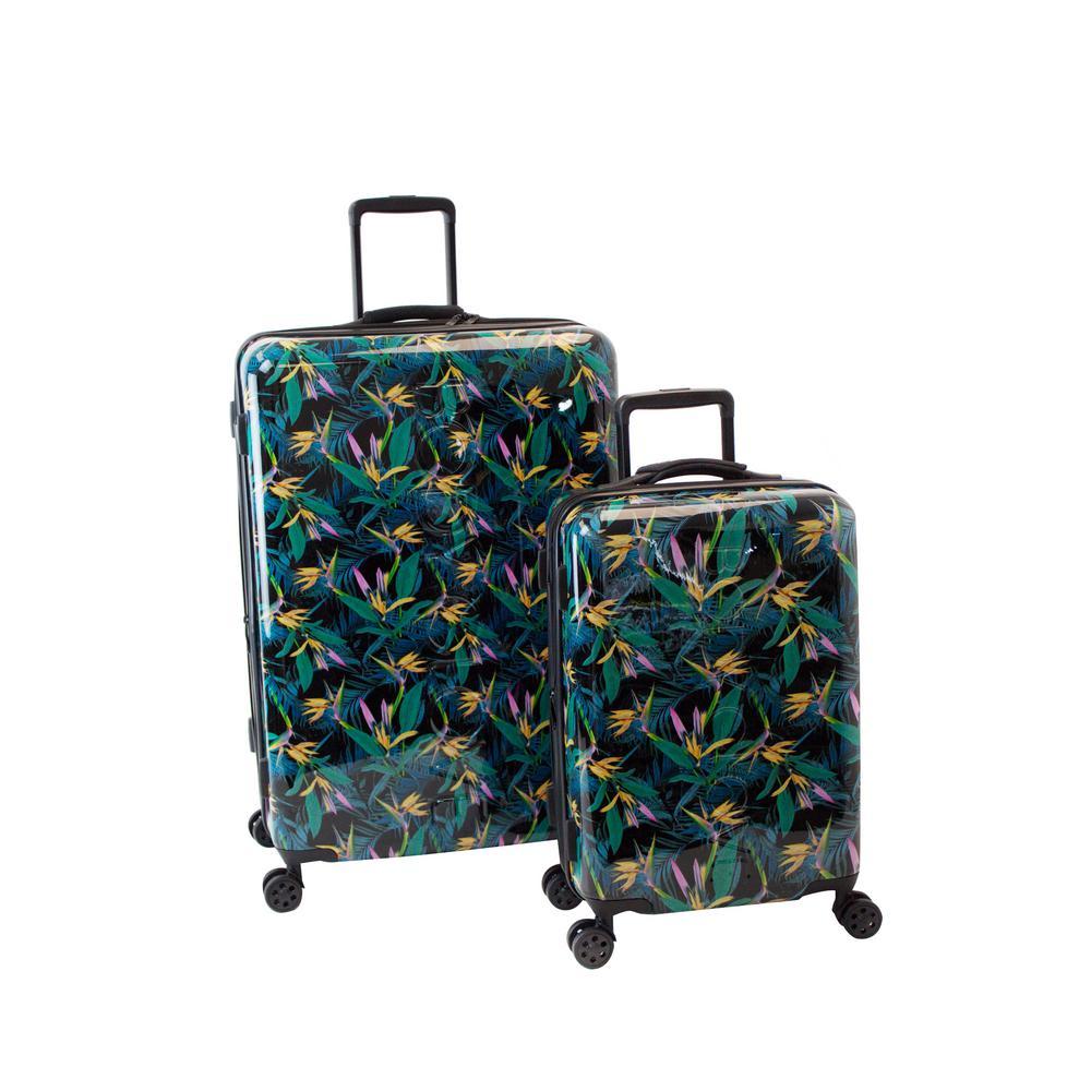 Paradise 2-Piece Black Debossed Hardside Luggage Set