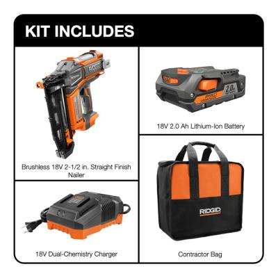 18-Volt Cordless Brushless HYPERDRIVE 16-Gauge 2-1/2 in Straight Finish Nailer, 2 Ah Battery, Charger, Belt Clip and Bag