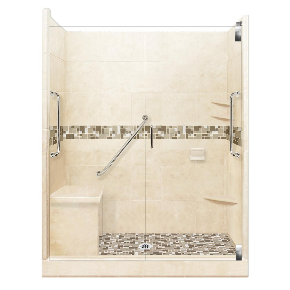 American Bath Factory Tuscany Freedom Grand Hinged 42 in. x 60 in. x 80 in. Center Drain Alcove Shower Kit in Desert Sand and Chrome Hardware