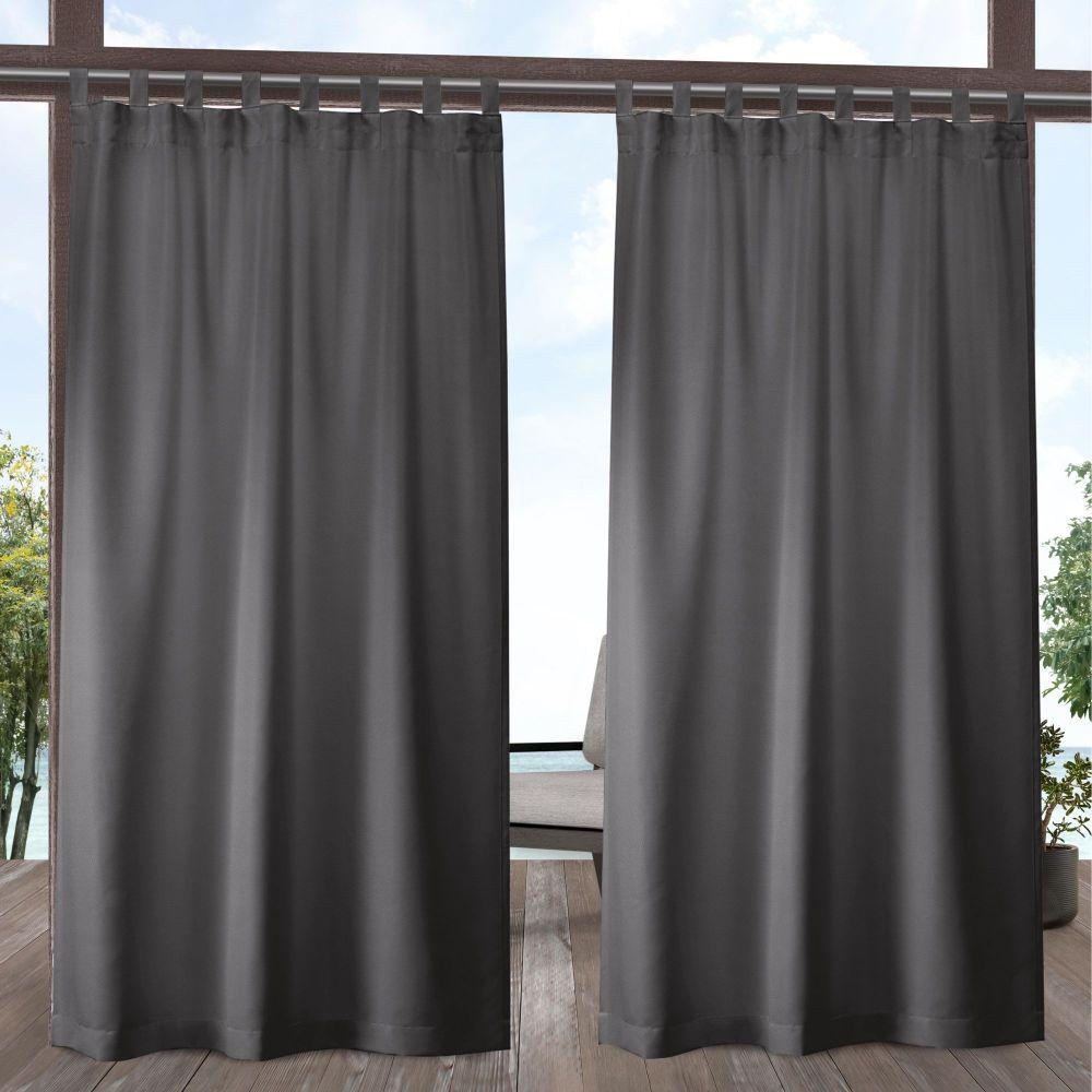 Indoor/Outdoor Solid Cabana Charcoal Light Filtering Tab