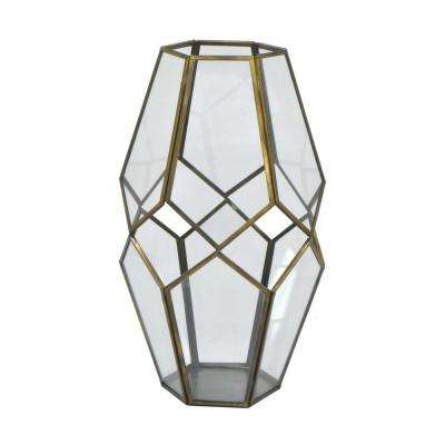 11 in. Metal/Glass Lantern in Antique Gold