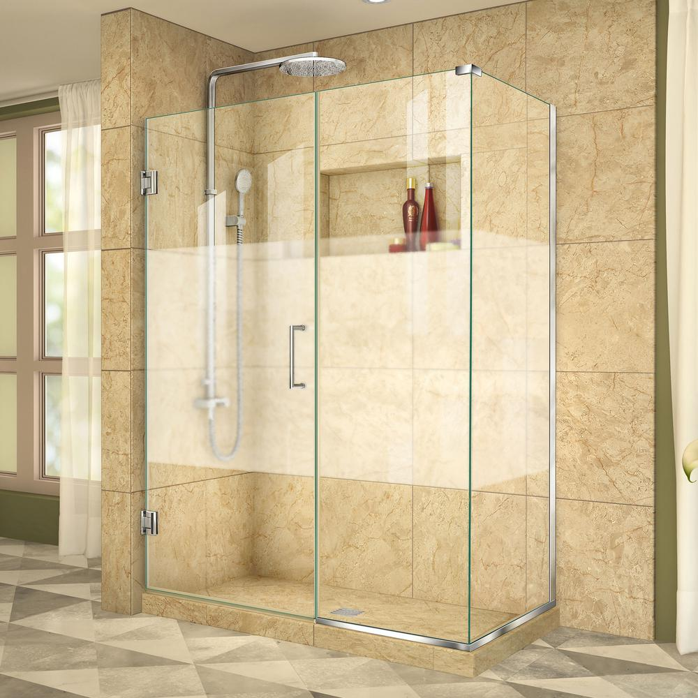 DreamLine Unidoor Plus 34-3/8 in. x 48-1/2 in. x 72 in. Frameless Hinged Corner Shower Enclosure in Chrome