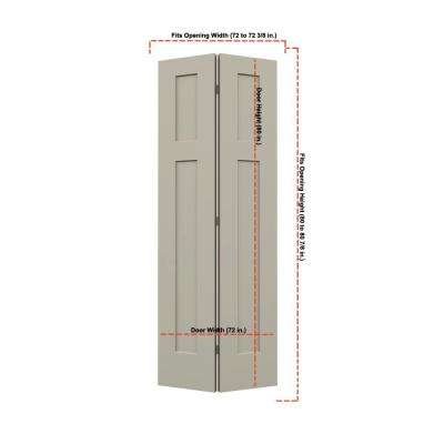 36 in. x 80 in. Craftsman Desert Sand Painted Smooth Molded Composite MDF Closet Bi-fold Double Door