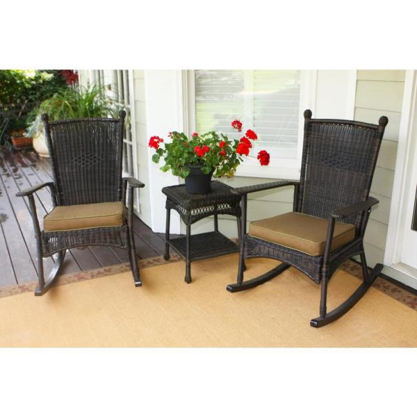 Portside Dark Roast 3-Piece Wicker Outdoor Classic Rocker Set with Tan Cushions