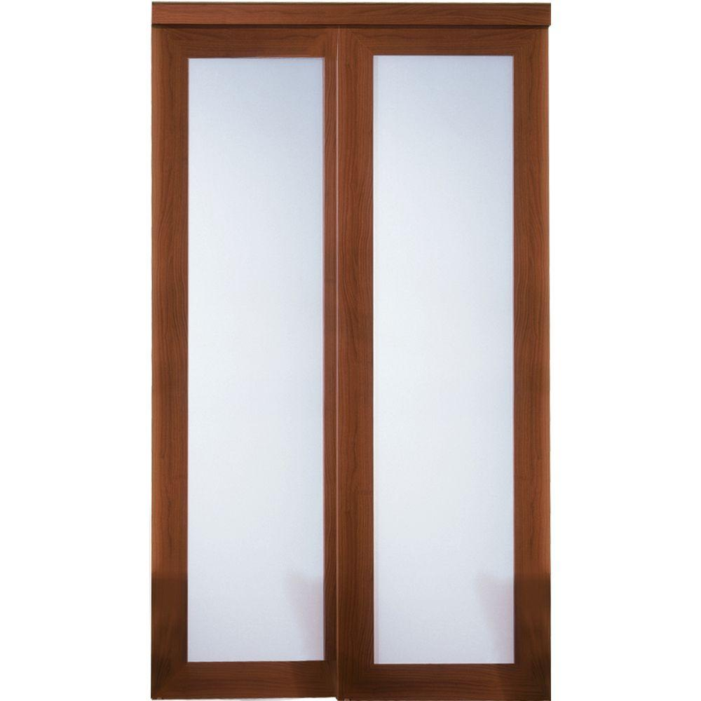 Truporte 48 in x 80 in 2000 series cherry 1 lite for Frosted glass sliding doors