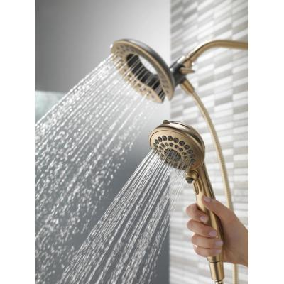 In2ition Two-in-One 5-Spray 6.8 in. Dual Wall Mount Fixed and Handheld Shower Head in Champagne Bronze