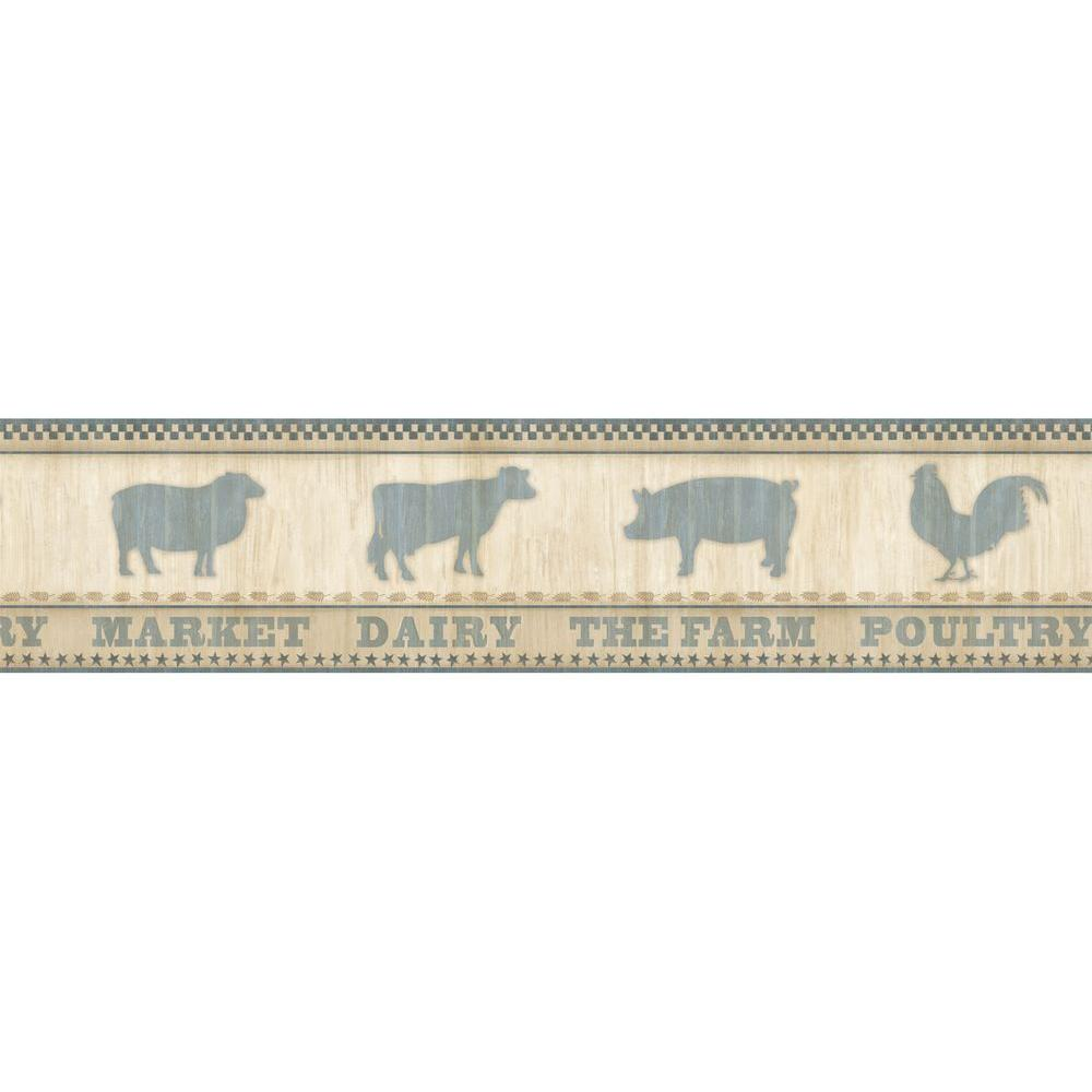 Grace Blue Farmers Market Blue Wallpaper Border
