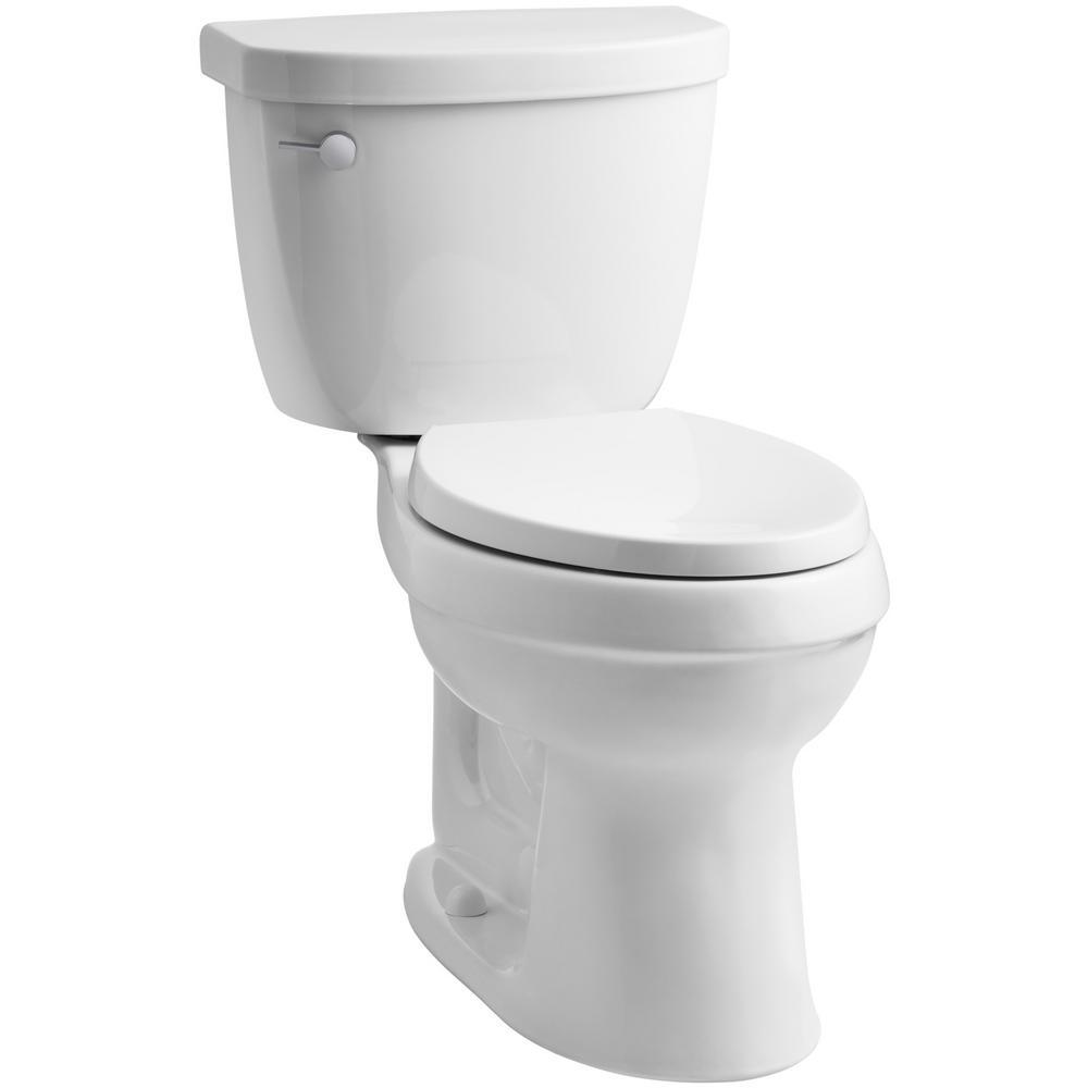 Cimarron 2-piece 1.28 GPF Single Flush Elongated Toilet with AquaPiston Flushing Technology in White, Seat Not Included