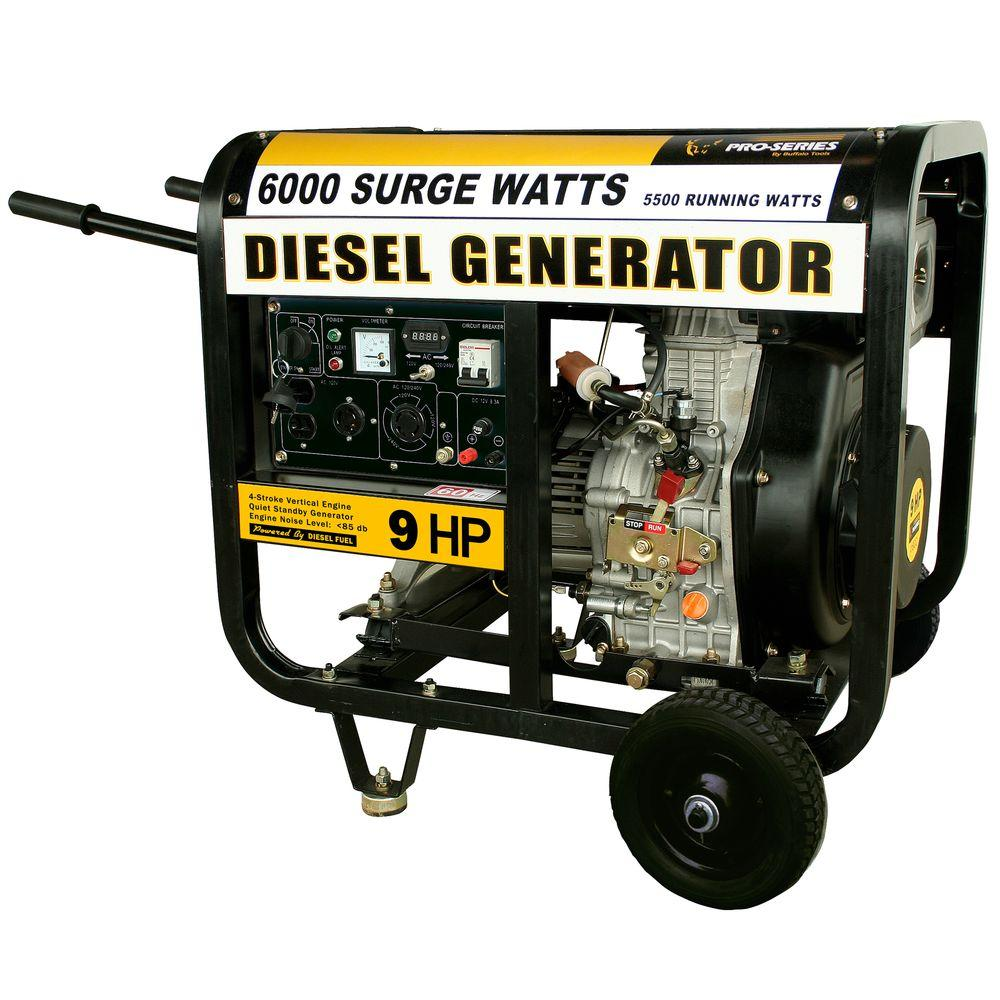 PRO-SERIES 6,000 - 5,500-Watt Diesel Electric Start Generator with Voltage Selector Switch