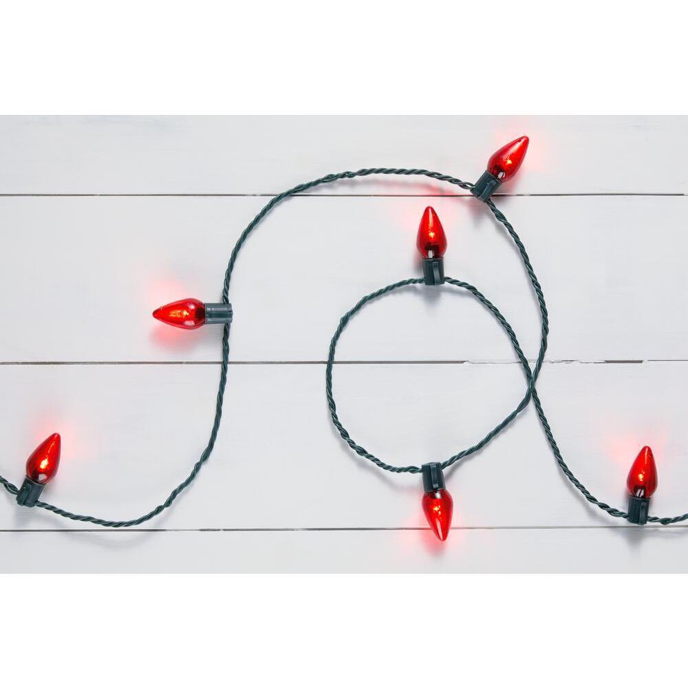 16 ft. 25-Light LED Red C9 Super Bright String Light