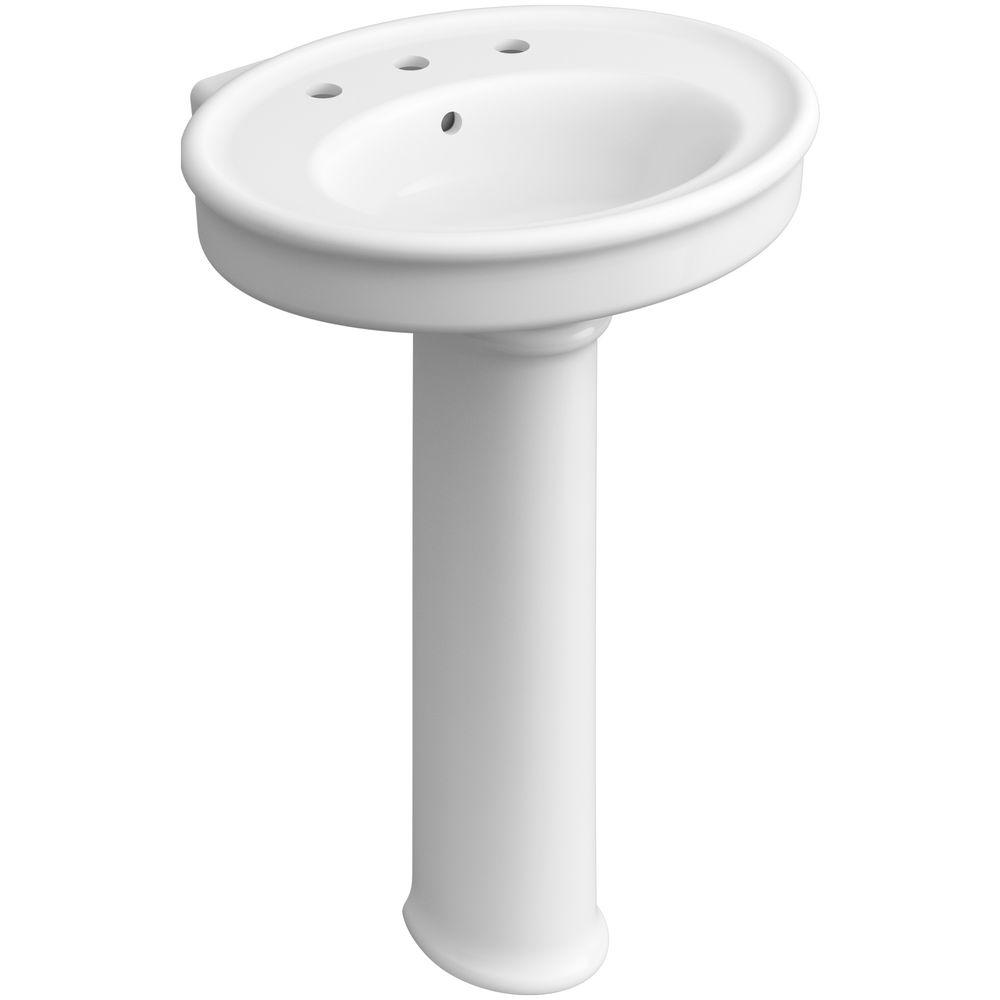 KOHLER Willamette Vitreous China Pedestal Combo Bathroom Sink in White with Overflow Drain