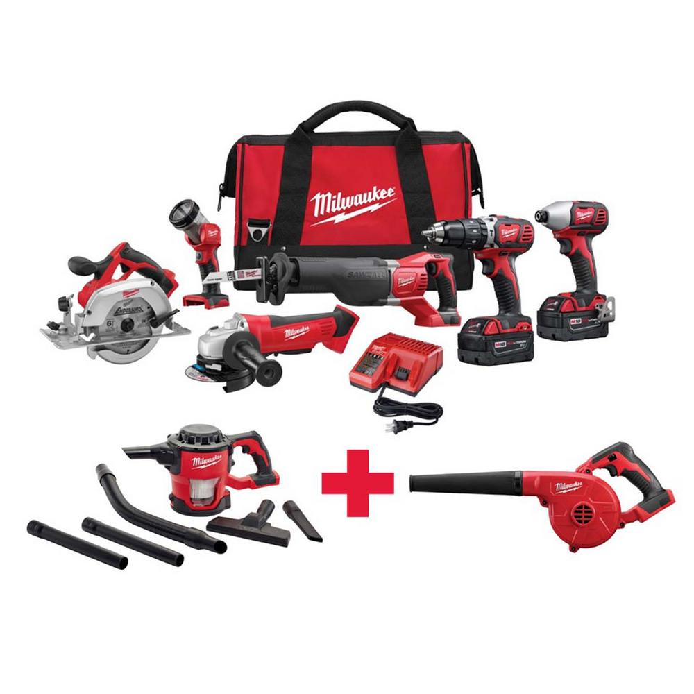 M18 18-Volt Lithium-Ion Cordless Combo Kit (6-Tool) with Free M18 vacuum