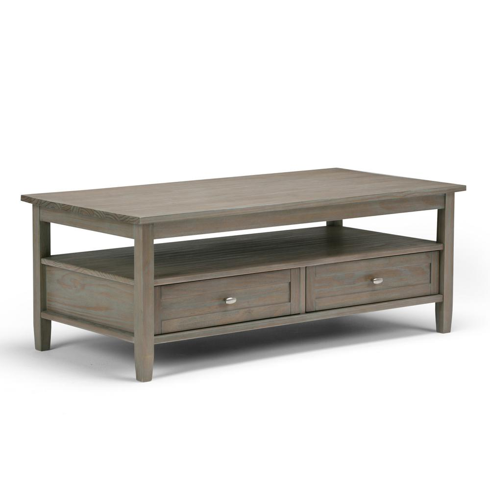 Simpli Home Warm Shaker Distressed Grey BuiltIn Media Storage - Grey distressed wood coffee table