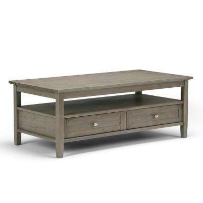 Warm Shaker Distressed Grey Built-In Media Storage Coffee Table