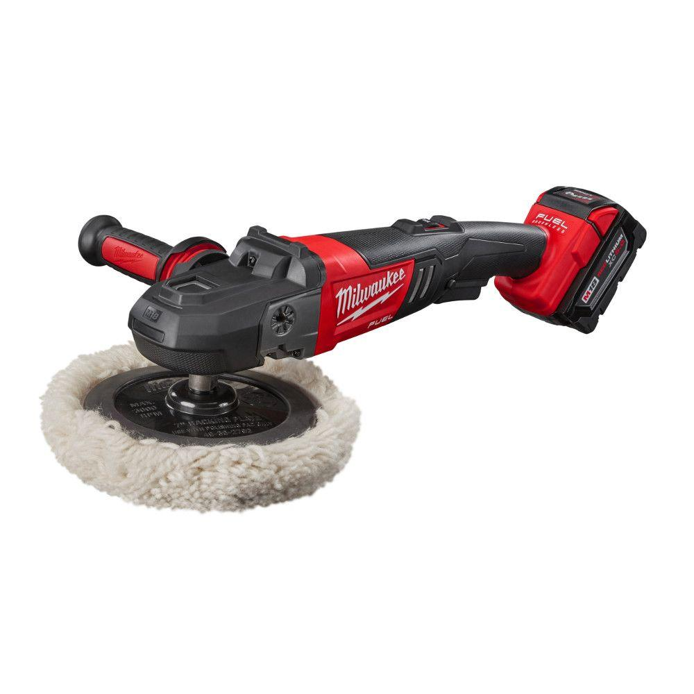 Milwaukee M18 FUEL 18-Volt Lithium-Ion Brushless Cordless 7 in. Variable Speed Polisher Kit W/ (2) 5.0Ah Battery & Charger