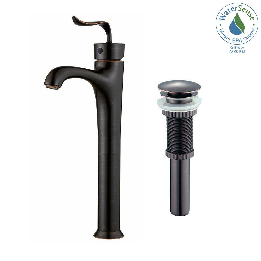 KRAUS Coda Single Hole Single-Handle Bathroom Faucet with Matching Pop-Up Drain in Oil Rubbed Bronze