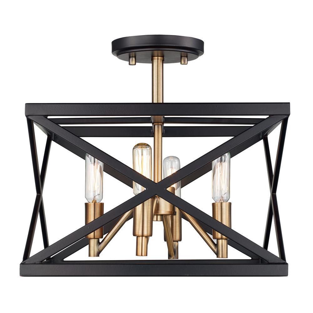 Ackerman 4-Light Rubbed Oil Bronze & Antique Brass Semi-Flushmount