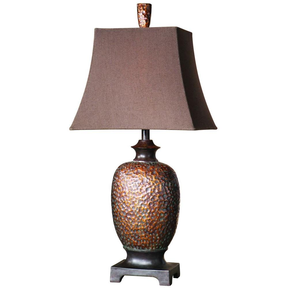 Global direct 325 in bronze leaf table lamp 26314 the home depot bronze leaf table lamp aloadofball Image collections