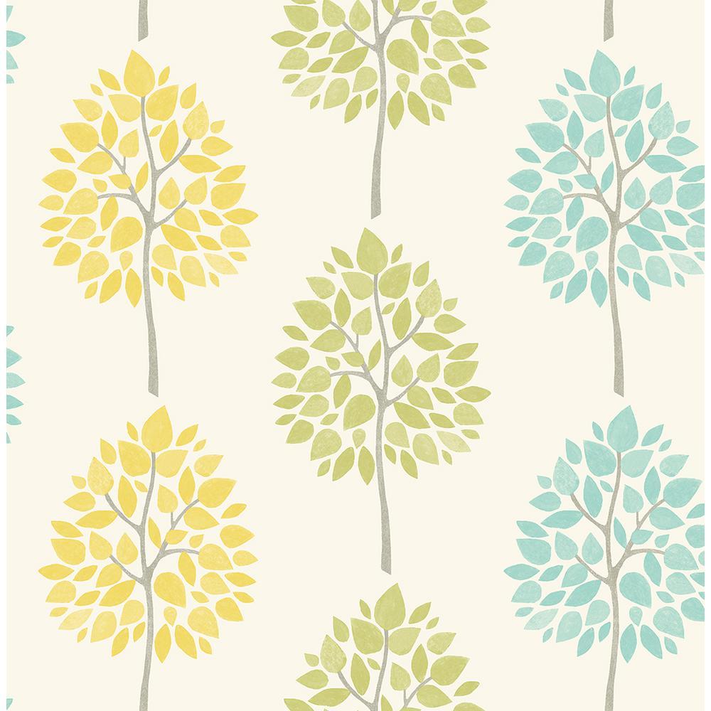 8 in. x 10 in. Alder Cream Tree Wallpaper Sample