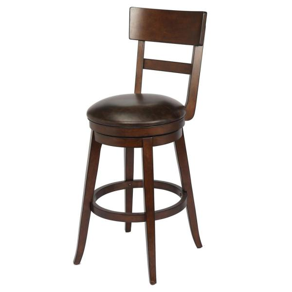 Craft + Main Alex 29 in. Walnut Bar Height Swivel Stool