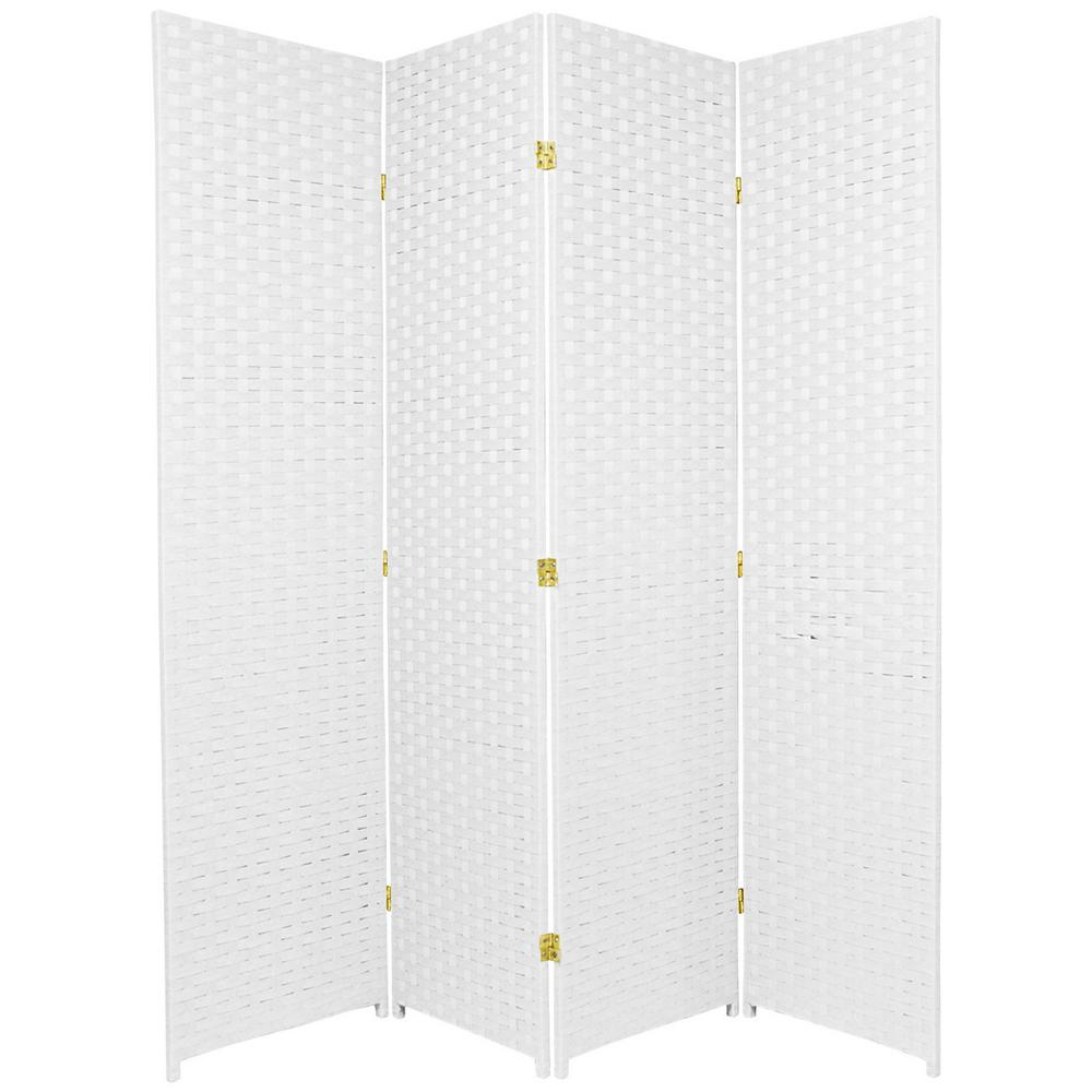 6 ft White 4 Panel Room Divider SSFIBER 4P WHT The Home Depot