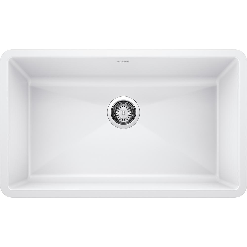 PRECIS Undermount Granite Composite 32 in. Single Bowl Kitchen Sink in White